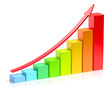 Growing colorful bar chart with red arrow business success conce