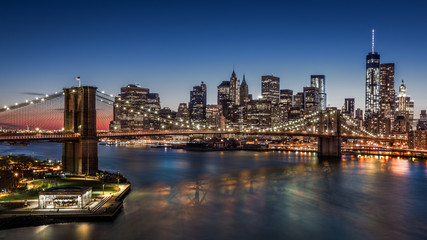Brooklyn Bridge and Downtown Manhattan at dusk