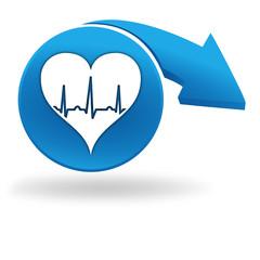 rythme cardiaque sur bouton bleu