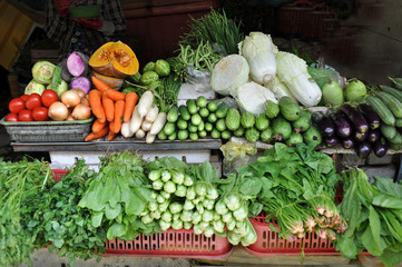Vegetable Stall at Ben Tanh Market, Ho Chi Minh City.