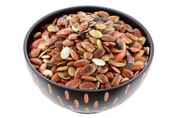A bowl of Roasted Ogbono nuts (Irvingia malayana)