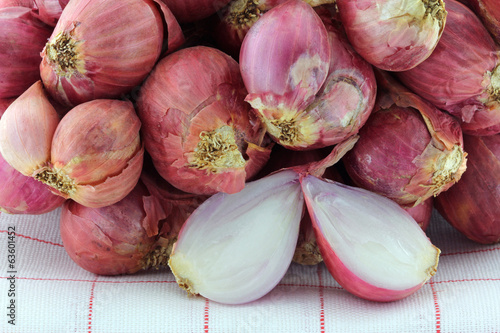 Closeup photo of Shallot bulbs cut in half
