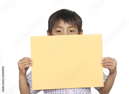 little boy with card for text isolated