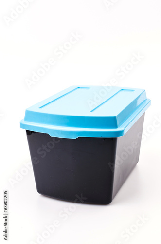 Plastic box isolated white background