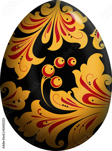 Easter egg painted in the style khokhloma