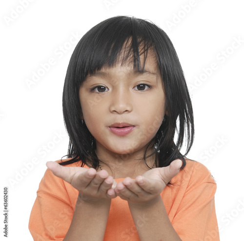 Little girl with extended hand