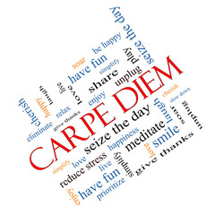 Carpe Diem Word Cloud Concept Angled