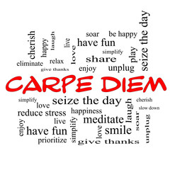 Carpe Diem Word Cloud Concept in red caps