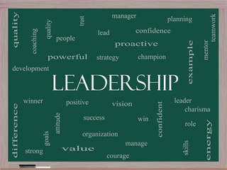 Leadership Word Cloud Concept on a Blackboard