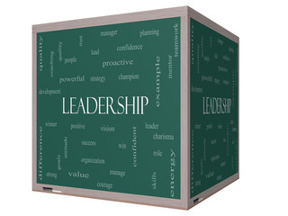 Leadership Word Cloud Concept on a 3D cube Blackboard