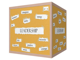 Leadership 3D cube Corkboard Word Concept