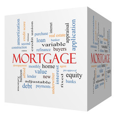 Mortgage 3D cube Word Cloud Concept