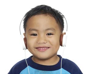 Nice child listening music
