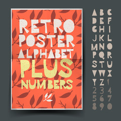 Retro alphabet for art and craft poster's design