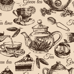 Tea and cake seamless pattern. Hand drawn sketch illustration