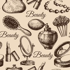 Beauty seamless pattern. Cosmetic accessories