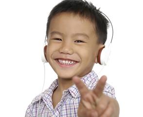 Nice smile child listening music