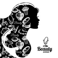 Beautiful woman silhouette. Cosmetics set pattern. Beauty salon