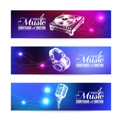 Set of music banners. Hand drawn illustrations and typography