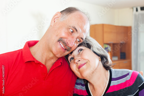 Portrait of loving elderly couple