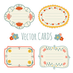 Hand drawn vintage vector cards with flowers and place for text
