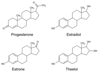 Structural formulas of female sex hormones