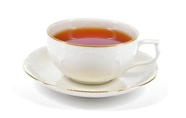 Black tea in a porcelain cup.