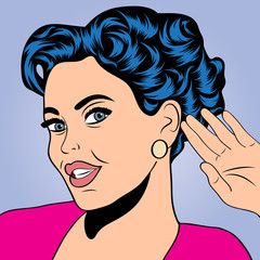 pop art retro woman in comics style