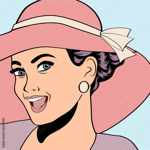 poster of popart retro woman with sun hat in comics style, summer illustra