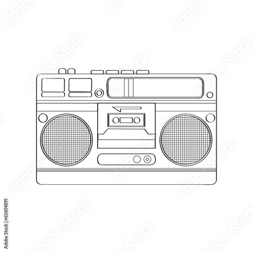 Vintage boom-box isolated on white background