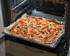 Modern oven with pizza inside.