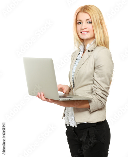 woman holding laptop, isolated on white backgroundю