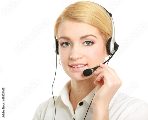 young customer service girl with a headset