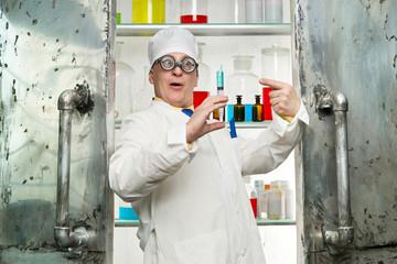 Chemist with syringe