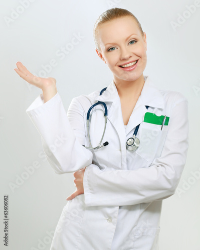 A portrait of a female doctor, close-up, isolated on white