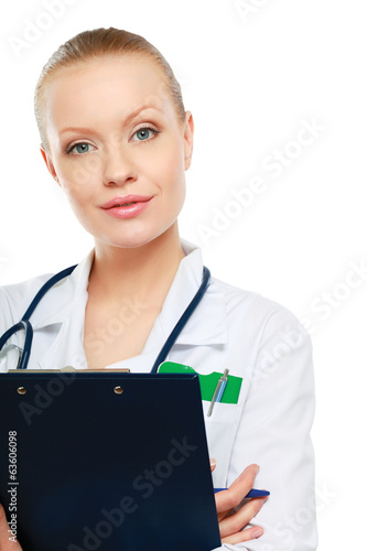 Portrait of young doctor or medic with clipboard and stethoscope