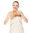portrait of a beautiful woman drinking tea