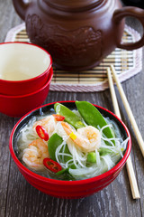 Asian soup with shrimp and vegetables.