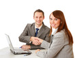 Business handshake , isolated on white background.