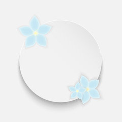 Round frame for your text decorated with blue flowers