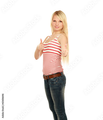 A young woman showing ok, isolated on white background.