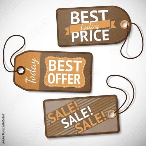 Set of retail cardboard sale tags