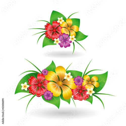 Tropical flowers decor elements