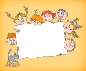 Doodle kids holding blank sign