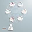 Speech Bubble Gear Machine Businessman 6 options