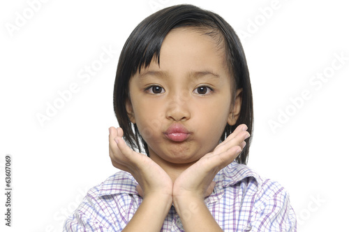 Adorable girl on a over white background