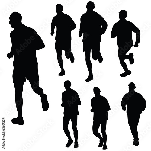 Silhouettes of runners isolated on white, vector