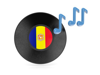 Vinyl disk with flag of andorra