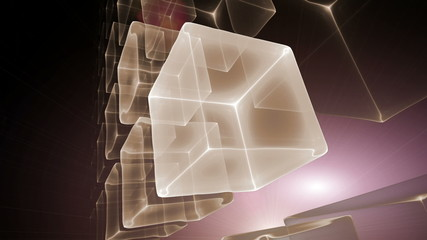 Cubic Perspective with Rays of Light, Cubes, Seamless Loop