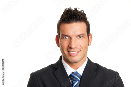 Handsome smiling man at a suit, left you can write some text